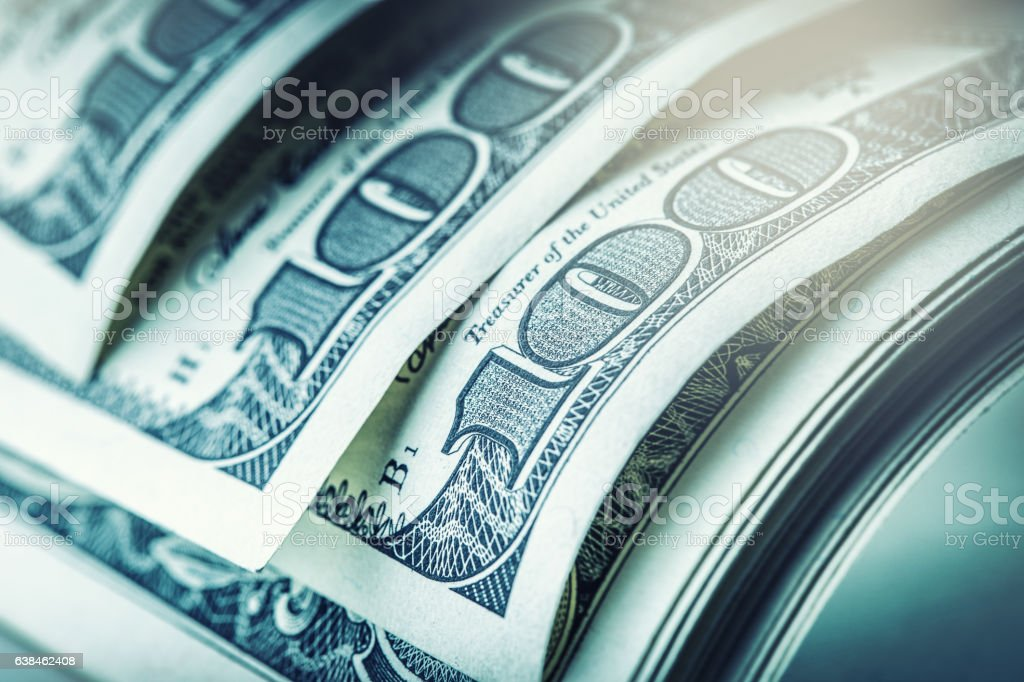 Dollars closeup. American Dollars Cash Money. One Hundred Dollar Banknotes. stock photo
