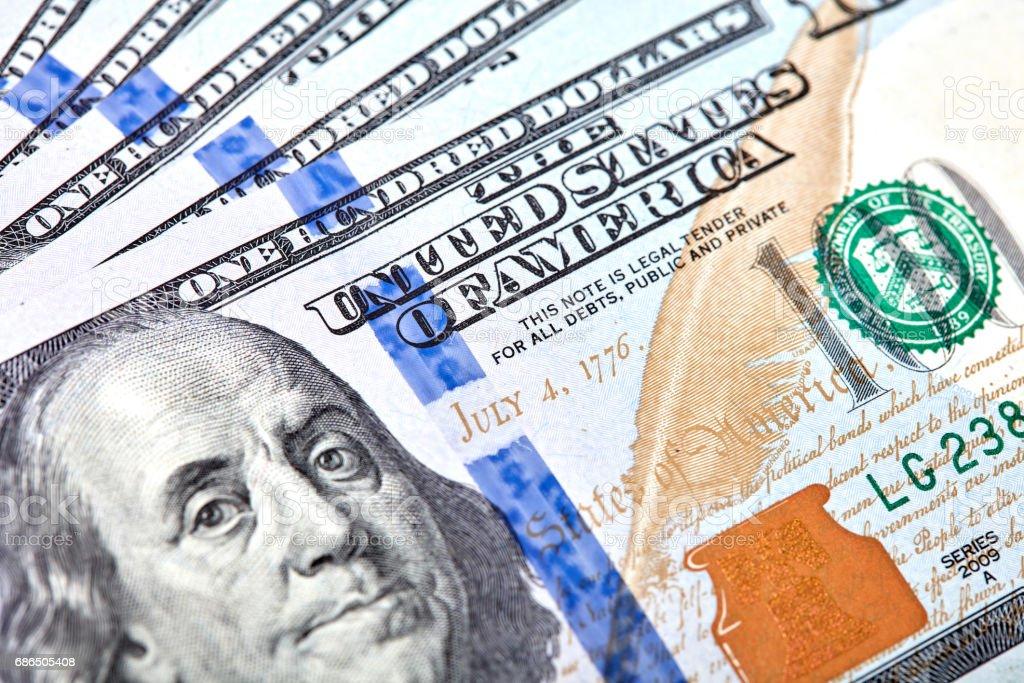 Dollars Closeup Concept. American Dollars Cash Money. One Hundred Dollar Banknotes. stock photo