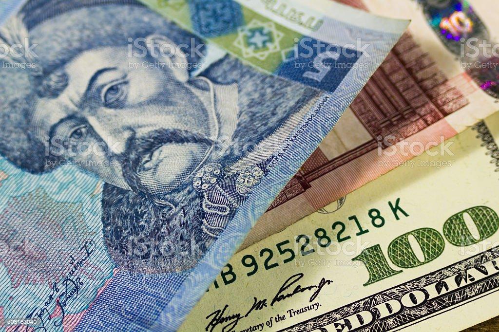 dollars, euro and hryvnia stock photo