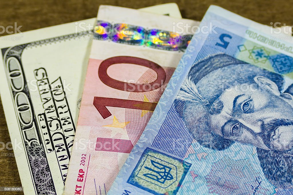 dollars, euro and hryvnia stock photo