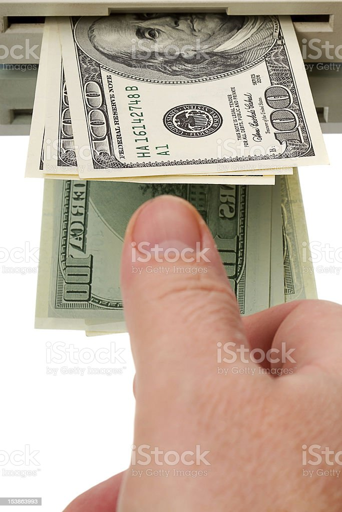 Dollars from an ATM royalty-free stock photo