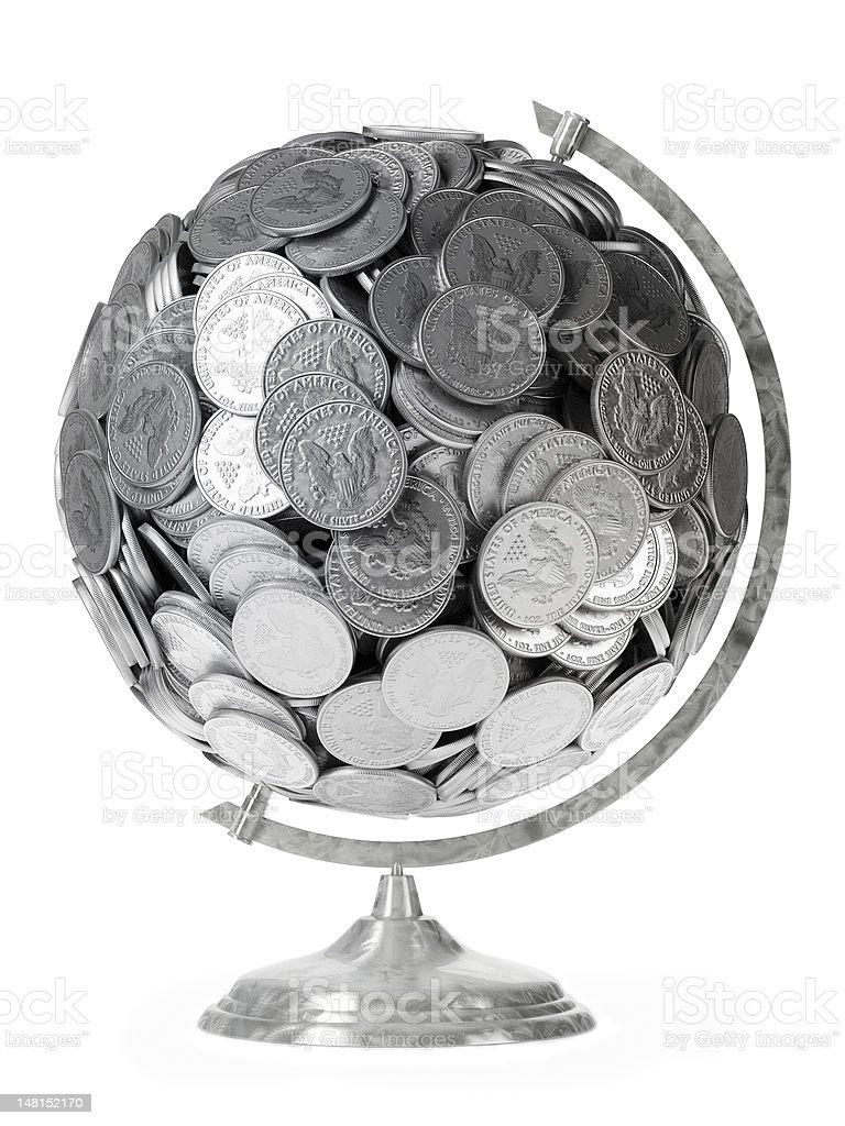 USA dollars globe isolated  on white background royalty-free stock photo