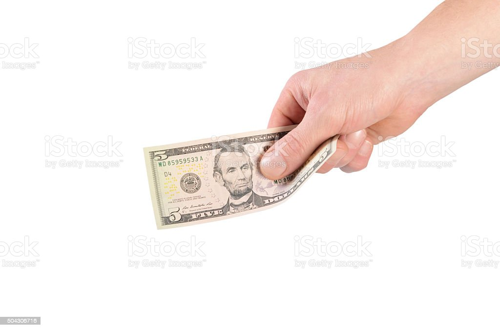 Dollars in a man's hand isolated on white stock photo