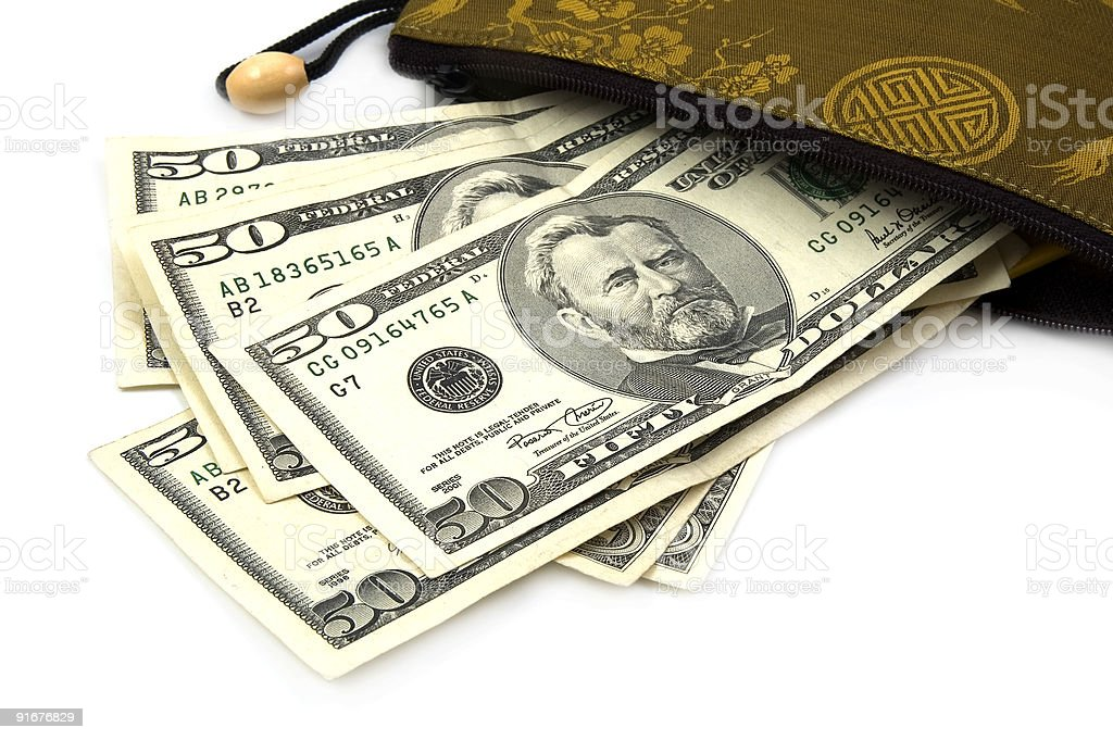 US Dollars in Chinese Purse royalty-free stock photo