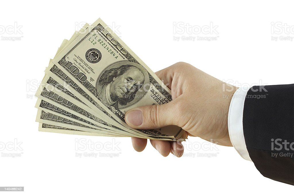 Dollars in hand royalty-free stock photo