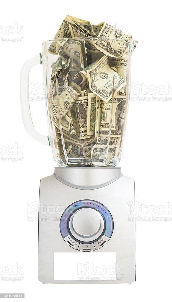 dollars in mixer royalty-free stock photo