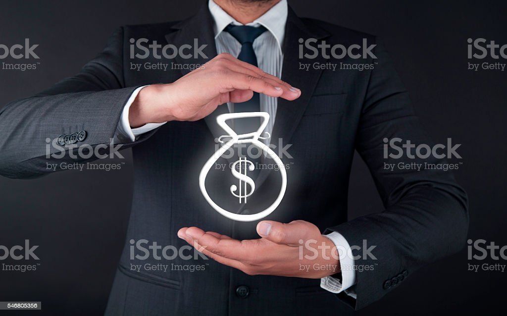 Dollars in money bag stock photo
