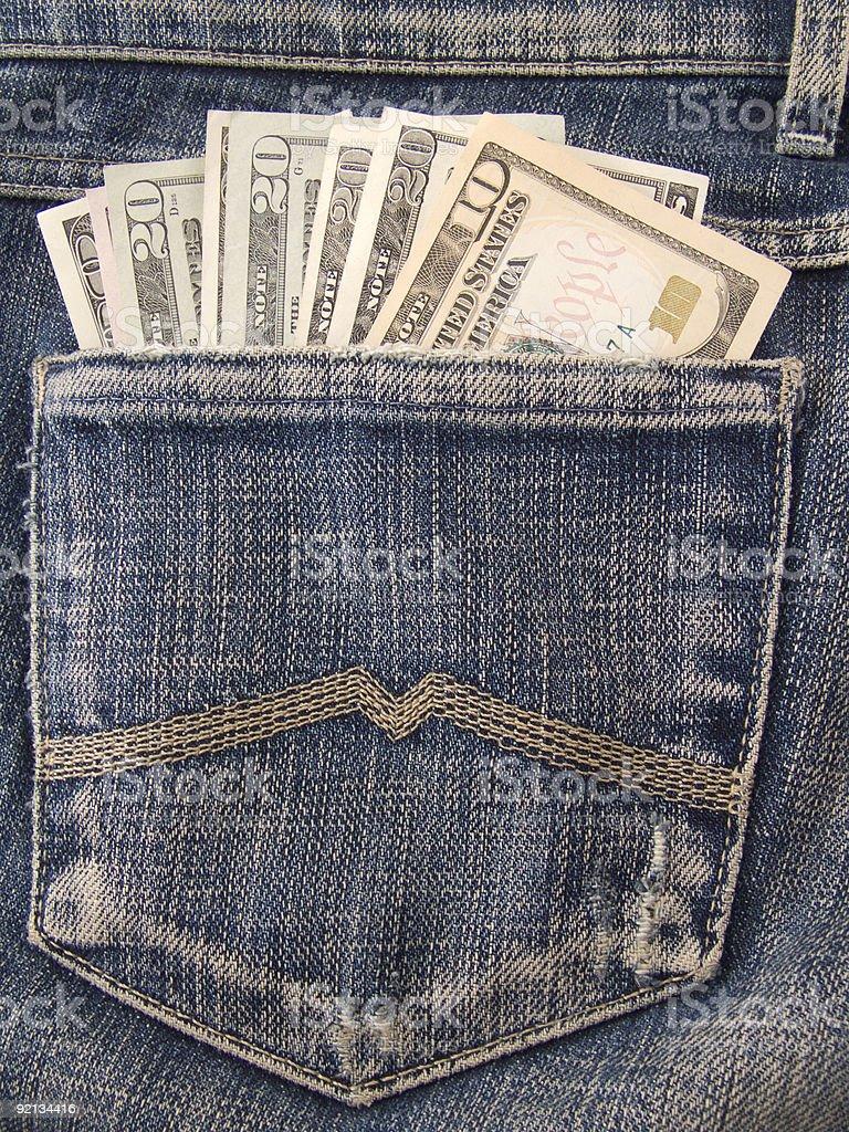 Dollars in pocket royalty-free stock photo