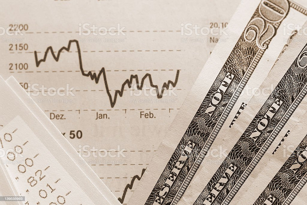 U.S. dollars in sepia royalty-free stock photo