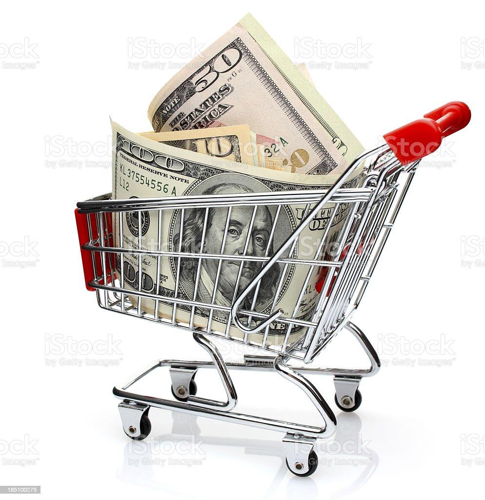 Dollars in Shopping Cart royalty-free stock photo