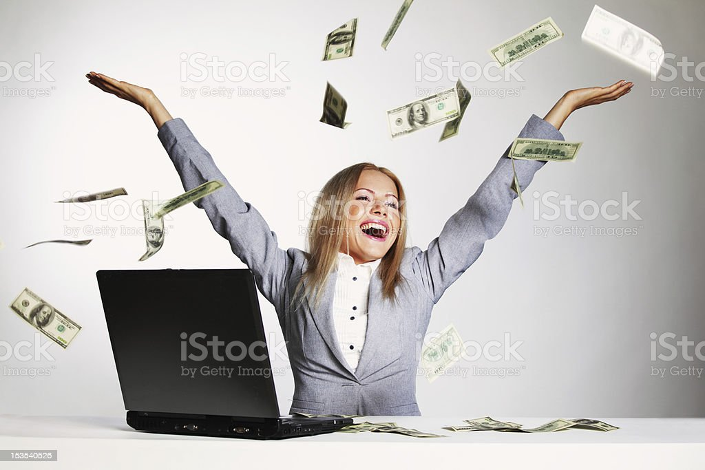 dollars in the air royalty-free stock photo