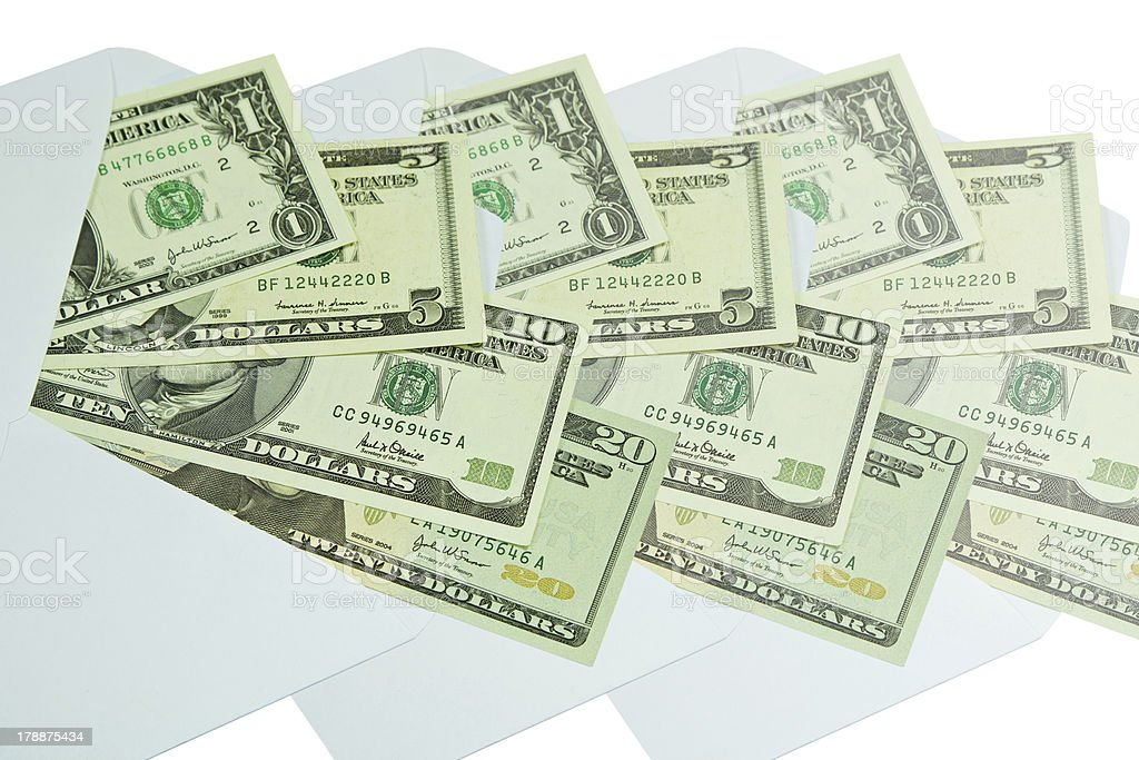 Dollars in the envelope royalty-free stock photo