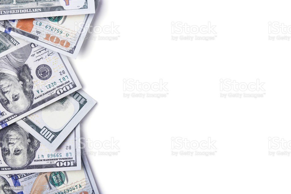 Dollars isolated on white background stock photo