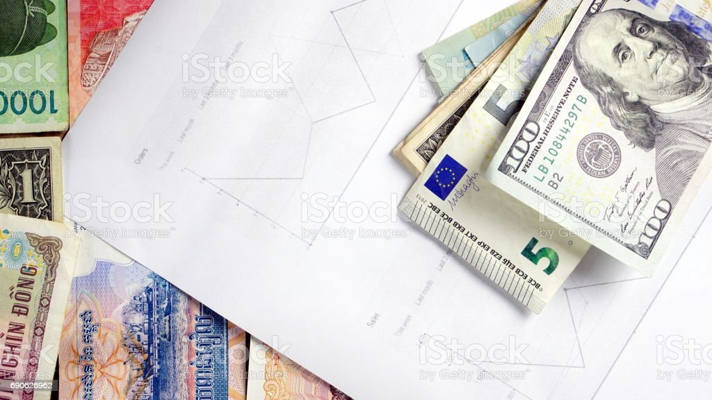 US dollars, Korean Won, Euro bills and some money bills and banknotes. stock photo