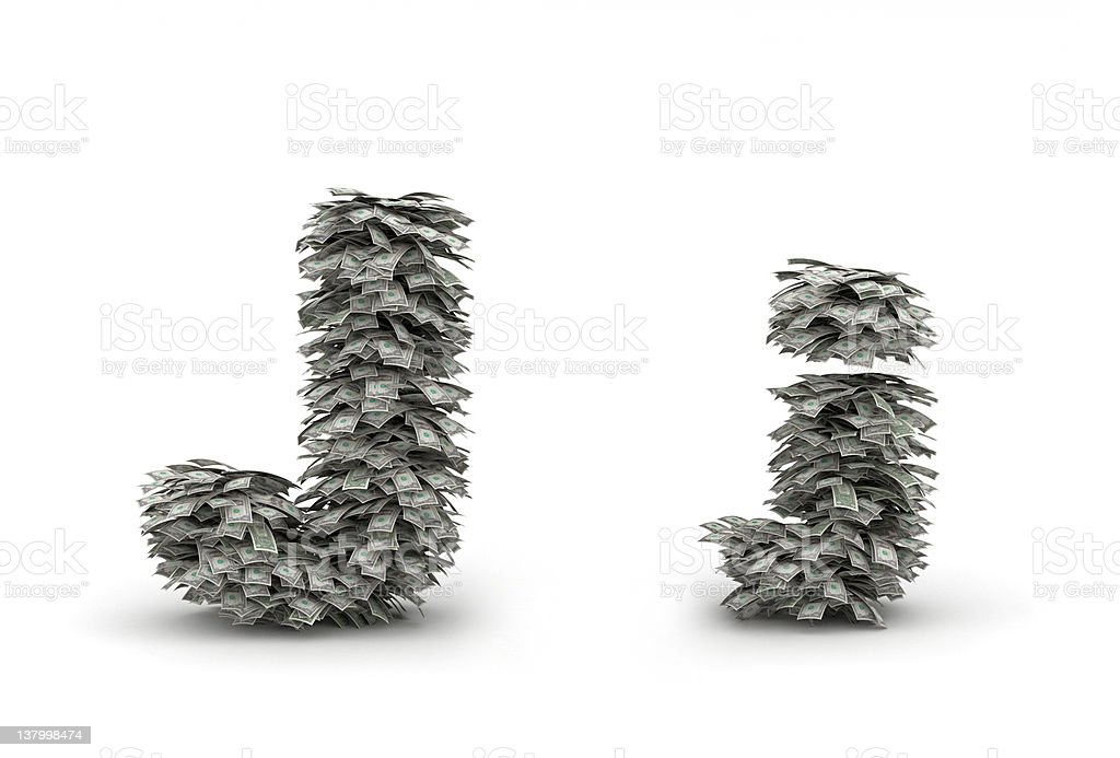 Dollars leafs letter J royalty-free stock photo