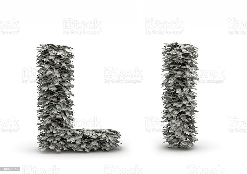 Dollars leafs letter L royalty-free stock photo
