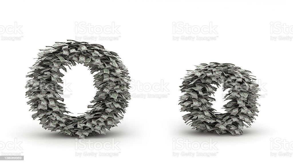 Dollars leafs letter O royalty-free stock photo