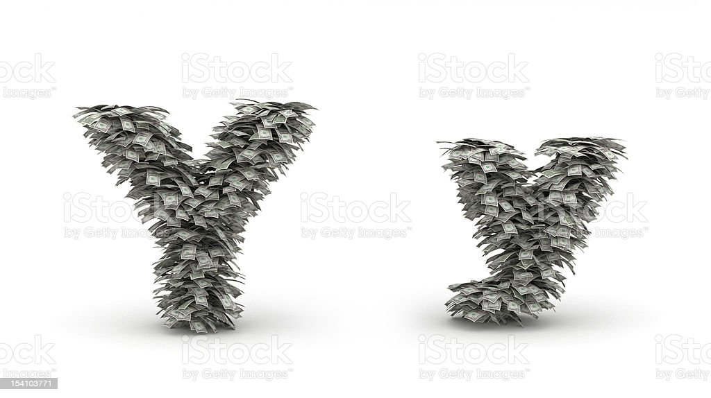 Dollars leafs letter Y royalty-free stock photo