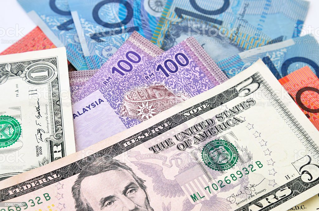 USA Dollars, Malaysia Ringgit, Australia Dollars stock photo