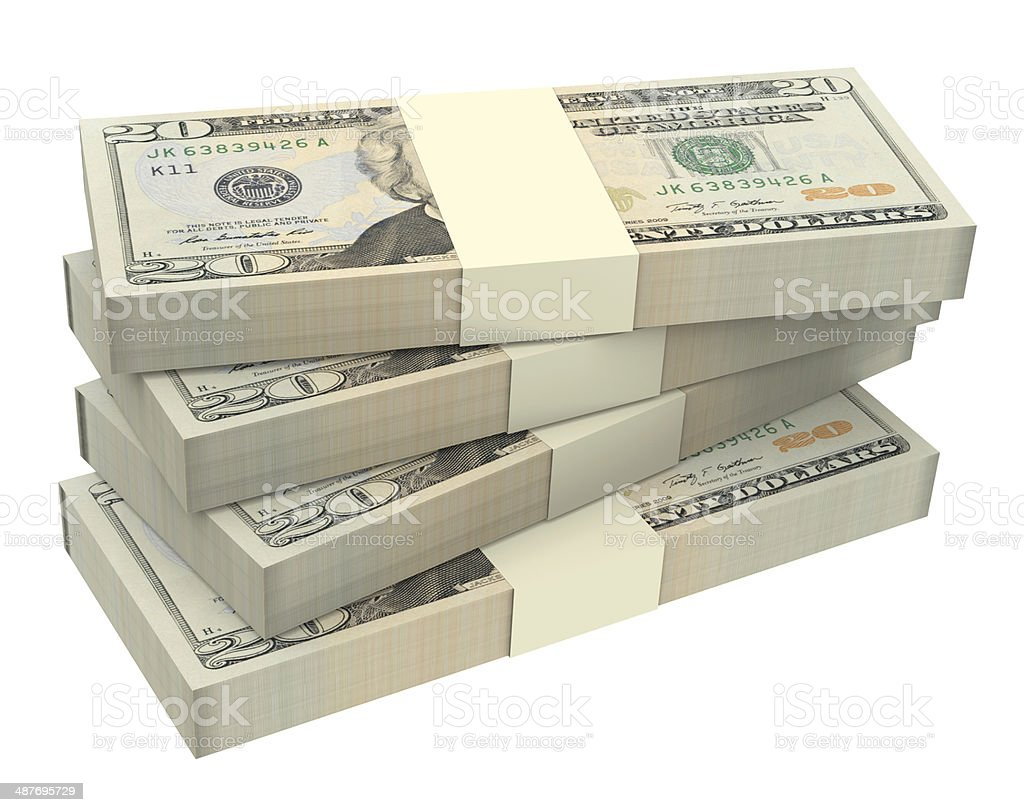 Dollars money isolated on white background. stock photo