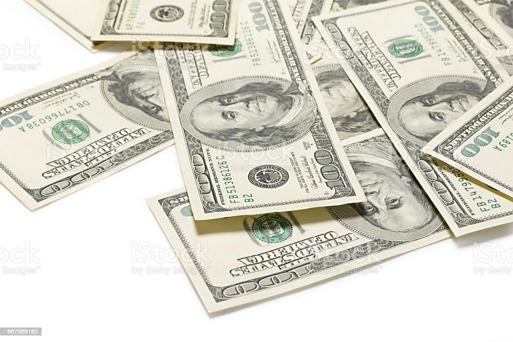 Dollars on a white background stock photo