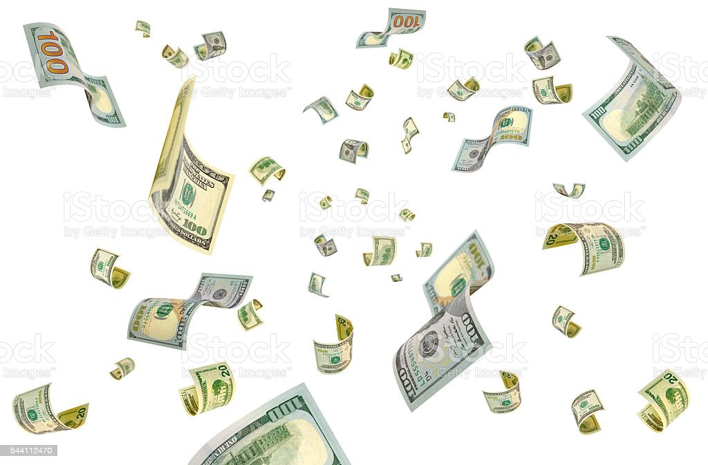 Dollars out of thin air. stock photo