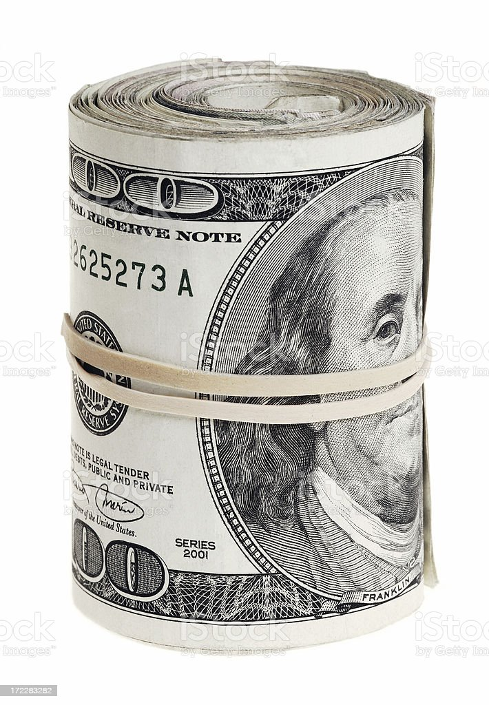Dollars roll isolated on white background stock photo
