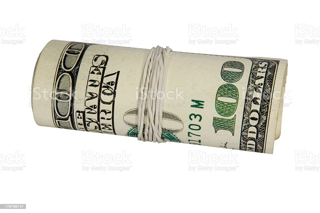 Dollars roll isolated on white background with clipping path royalty-free stock photo