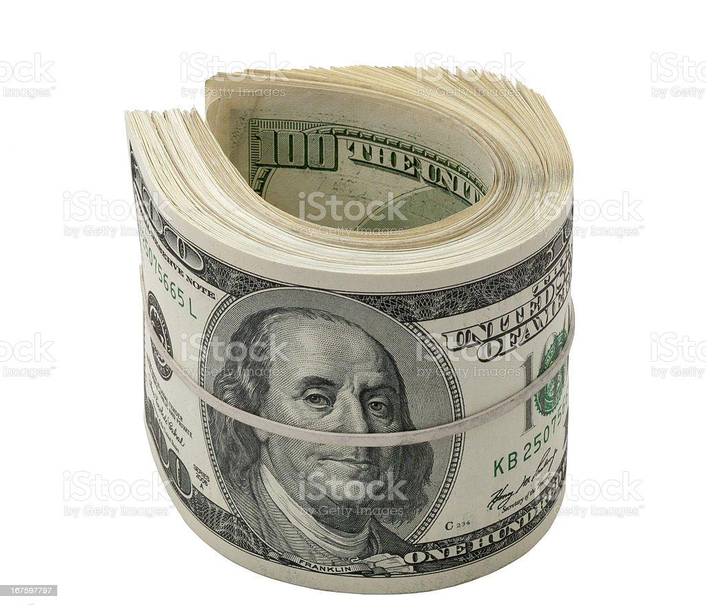 Dollars roll isolated on white royalty-free stock photo