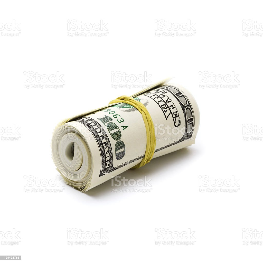 Dollars roll royalty-free stock photo