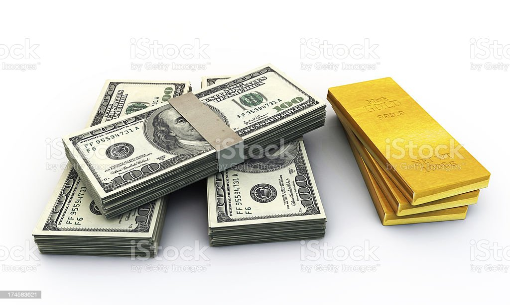 dollars stak and many gold ingots royalty-free stock photo
