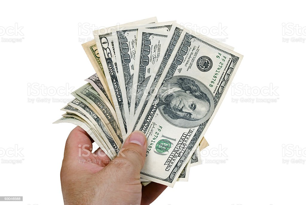US dollars with Benjamin Franklin, clipping paths royalty-free stock photo