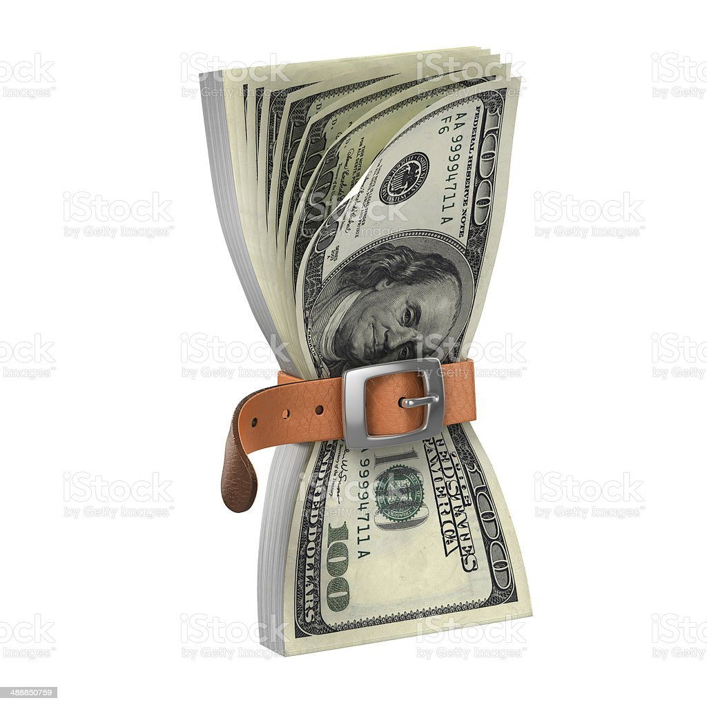 dollars with tighten belt - financial crisis 3d concept stock photo