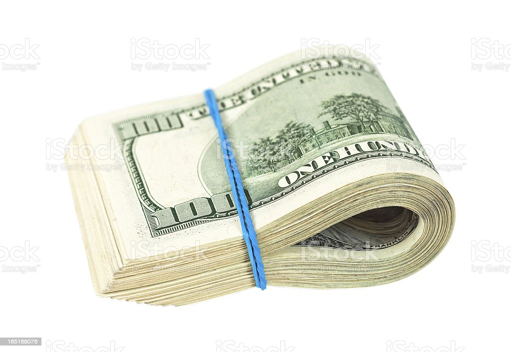 US dollars wrapped by rubber on white background royalty-free stock photo