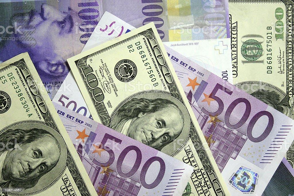 dollars,euros,swiss franc stock photo