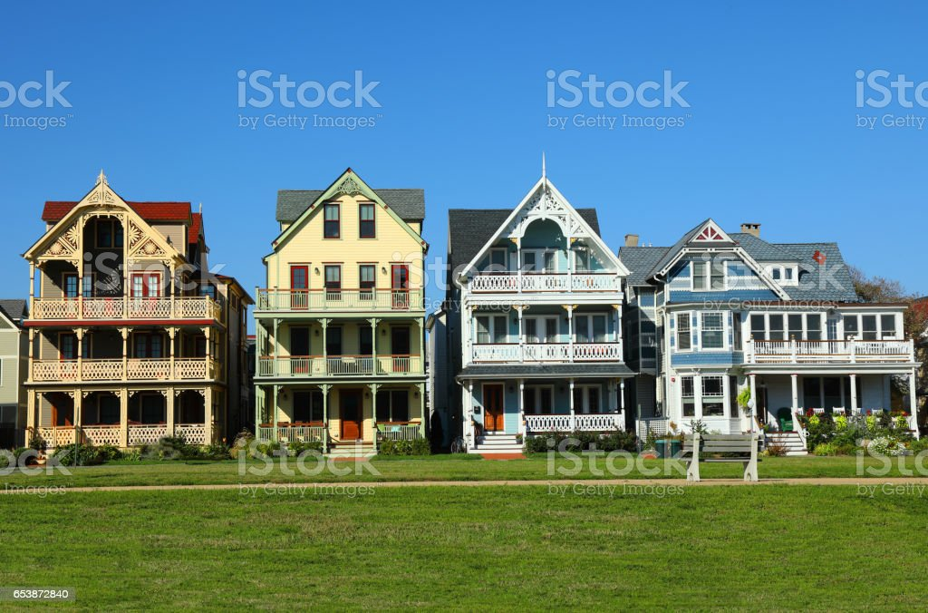 Dollhouse-style Victorian Homes stock photo