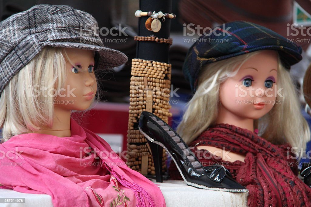 Dolls as mannequins stock photo