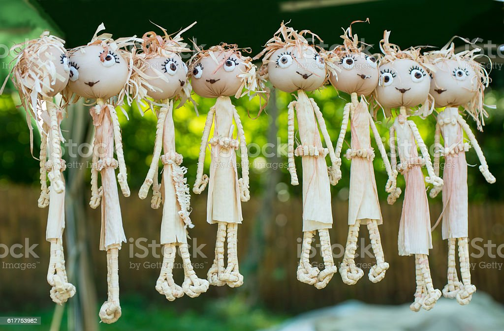 Dolls from maize husk. stock photo