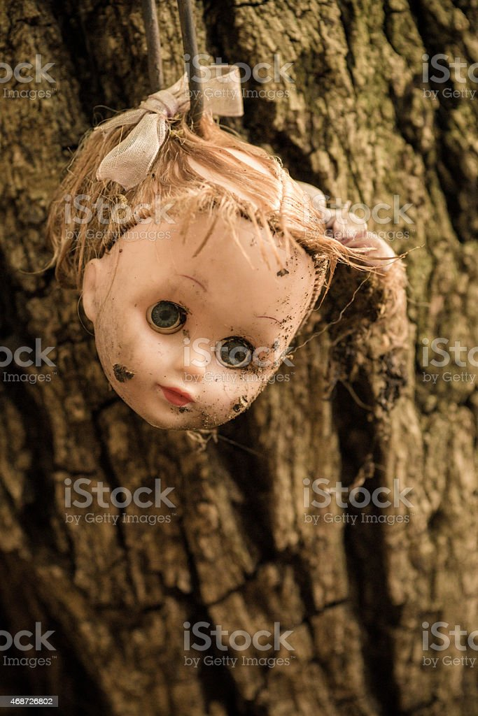 Doll's Head Hanging From Tree stock photo