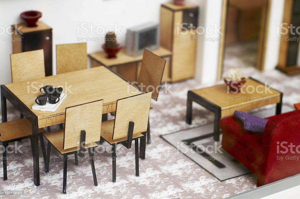 Doll's house, lounge - Close-up of miniature furniture stock photo