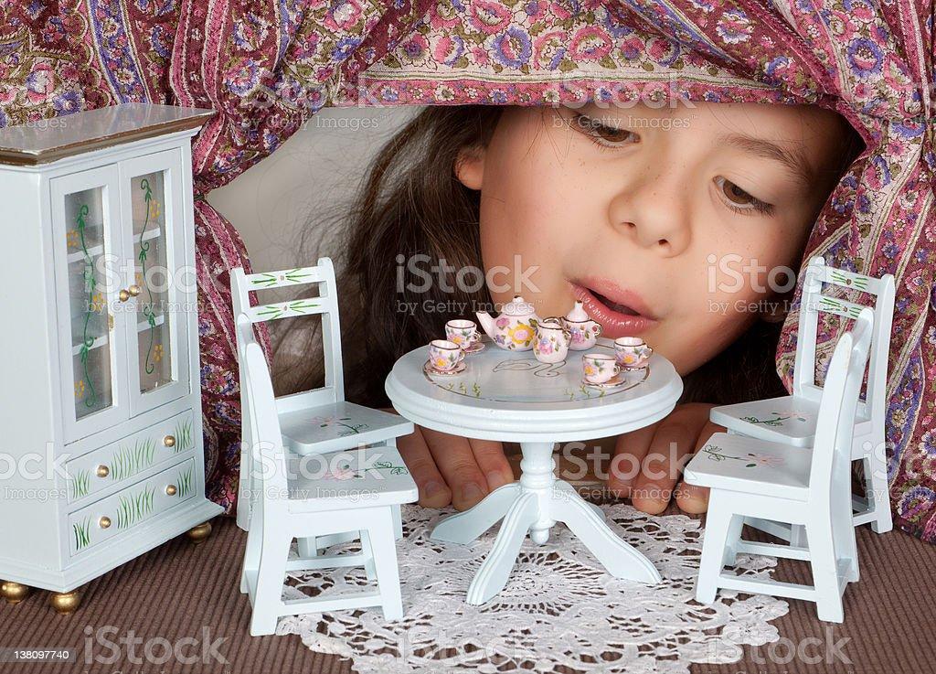Doll's house window stock photo