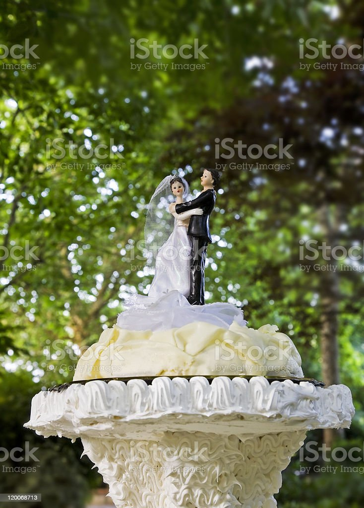 Dolls on wedding cake royalty-free stock photo