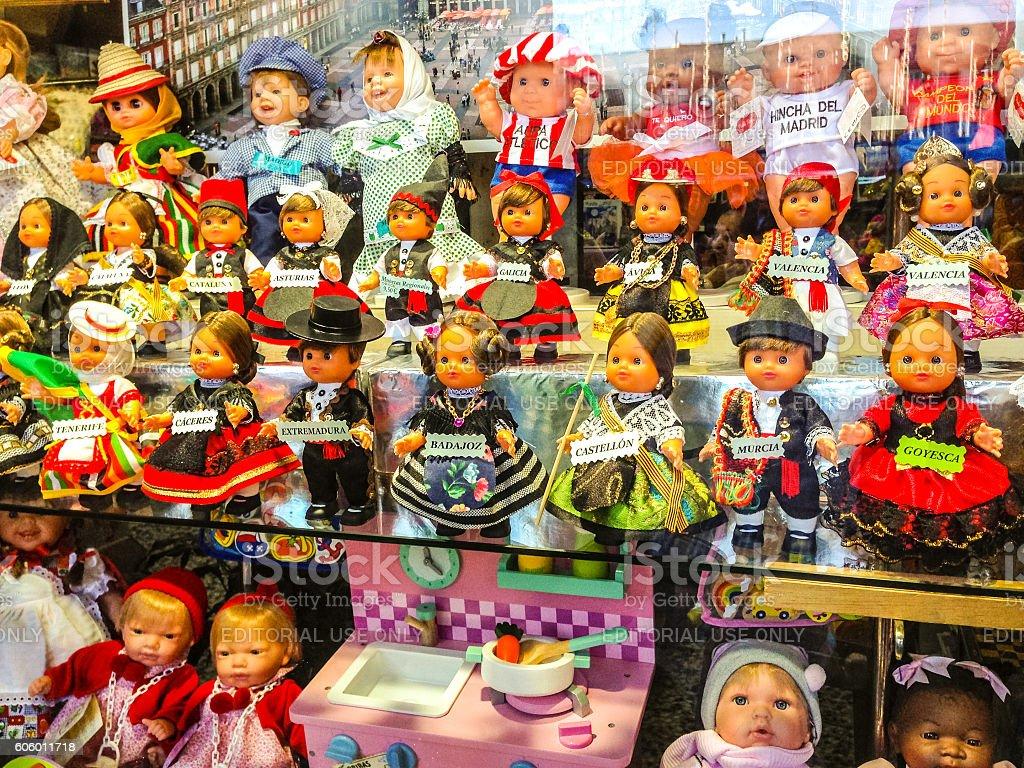Dolls representing  Spanish regions in a window display, Madrid stock photo