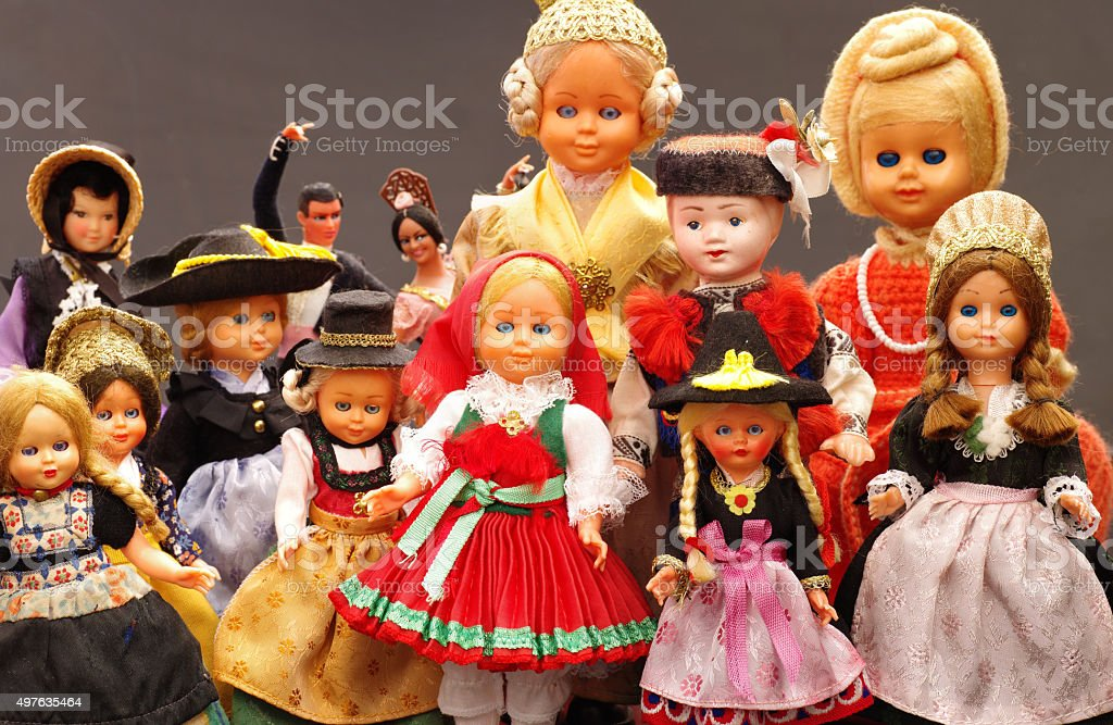dolls vintage souvenirs from travels stock photo