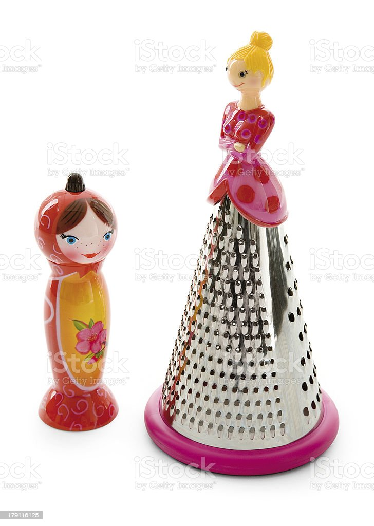 Dolly salt shaker and grater royalty-free stock photo