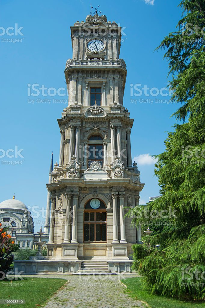 dolmabahce clock tower in istanbul turkey stock photo