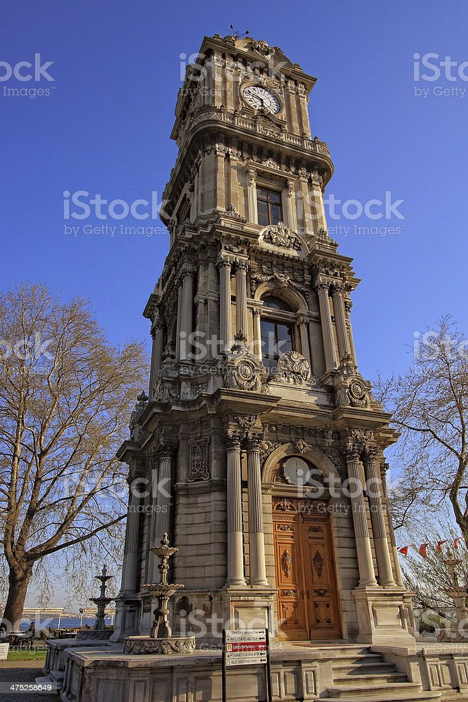Dolmabahce Clock Tower (Turkish: Dolmabahce Saat Kulesi) stock photo