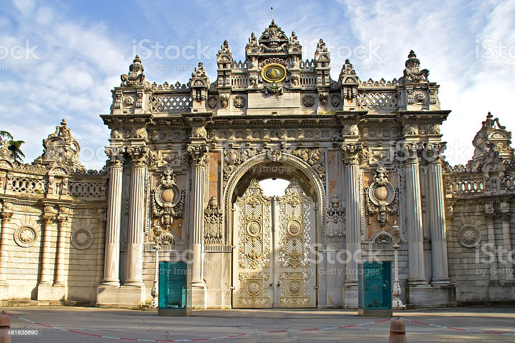 Dolmabahce palace entrance stock photo