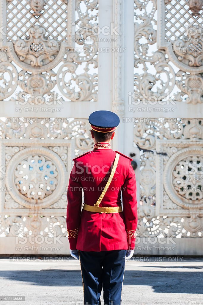 Dolmabahce Palace Guards stock photo
