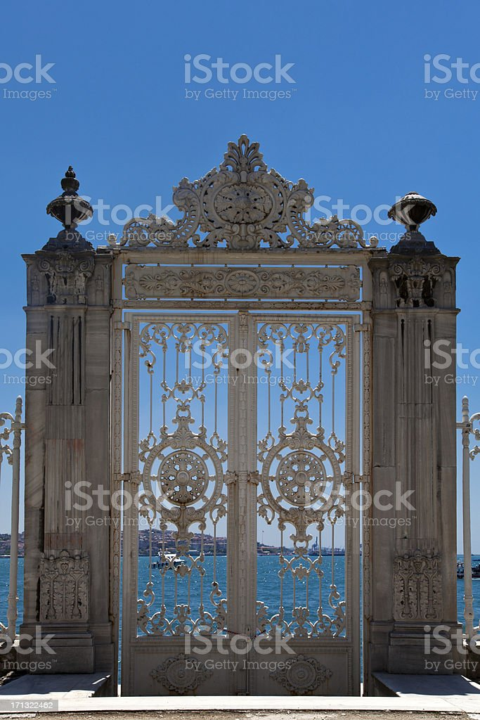 Dolmabahce palace sea gate stock photo